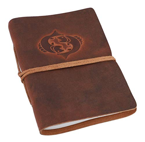 Gusti Notitieboek leer - dagboek reisdagboek Bullet Journal schetsboek ongelinieerd klassiek leer DIN A5 bruin sterrenbeeld vis