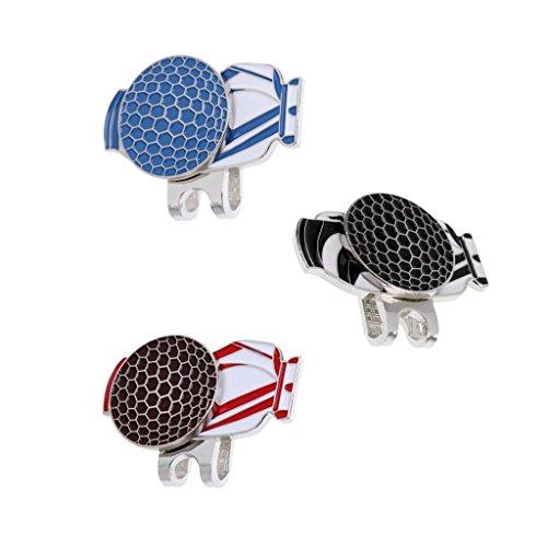 MagiDeal 3 x Marqueur Magnétique Balle de Golf + Pince Chapeau Golf Motif Sac Golf Accessoire Golf