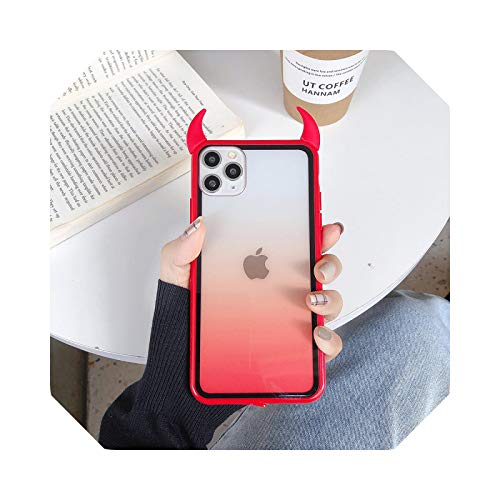 Cute Devil Horn Phone Case for iPhone 12 11Pro Max XS Max XR X 6 6S 7 8 Plus Full Body Protective Acrílic Transparente Back Cover-T3-For iPhone 11Pro Max