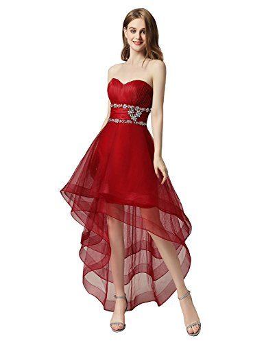 Clearbridal Damen Tüll Asymmetrisch Ballkleid Partykleid Abendkleid Herzausschnitt CAJ014 Weinrot...