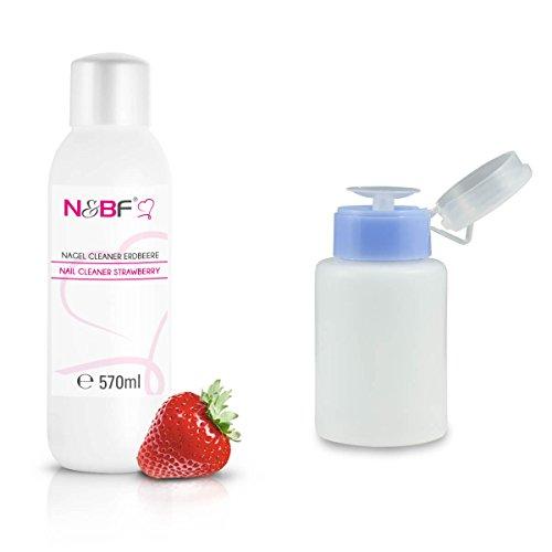 Cleaner pour Ongles Parfum Fraise 570 ml + Flacon à Pompe 150 ml-Nail nettoyant utilisé pour nettoyer et dégraisser en qualité studio