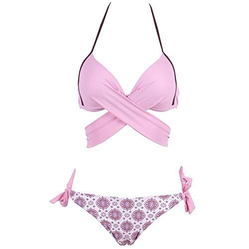 SHUCHANGLE Vrouwen Bikini Set Badpak Bikini Vrouwen Badpak Push Up Badmode Licht Roze Cross Bandage Halter Bikini Set Strand Baden Pak Zwemkleding