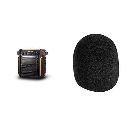 ION Audio Raptor | Ultra-Portable 100-Watt Wireless Water-Resistant Speaker & On-Stage Foam Ball-Type Microphone Windscreen, Black