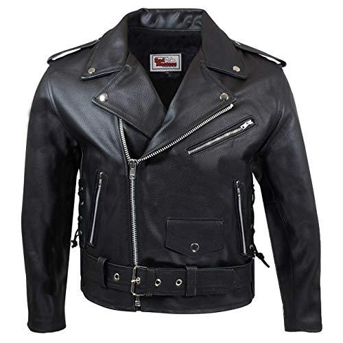 German Wear piel moto chaqueta con cordón lateral, color negro