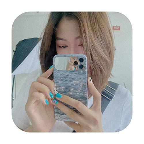 Caso de lujo de verano para niñas de maquillaje de ondas de espejo para iPhone 11 Pro Max caso lindo suave cubierta para iPhone Xs XR X 7 8 Plus SE Case-01-para iPhone 7 Plus