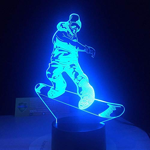 Lámpara LED de proyección de Patineta 3D, diseño de para habitación de niños, decoración del hogar, regalos de cumpleaños con 7 colores cambiantes