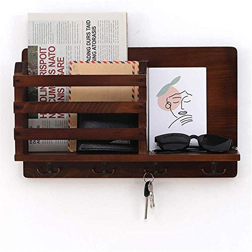 Organizador de llaves de roble vintage con cesta para cartas, caja organizadora con 4 ganchos para llaves, para entrada, vestíbulo y pasillo.
