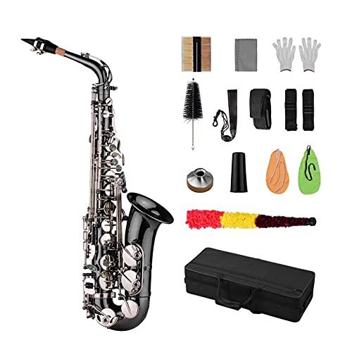 Saxofón Chapado En Níquel Negro Llaves De Concha De Abulón De Saxofón Alto EB E Plano Doblado De Latón Profesional con Guantes De Estuche Instrumento Viento