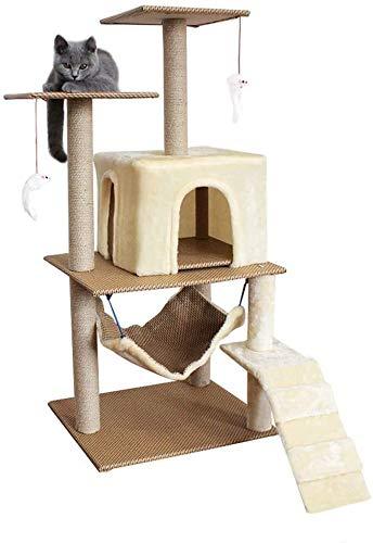 Wxxdlooa Ratán Gato Columpio, Gran Pilar casa del Gato sisal Gato Que Salta de Plataforma multifunción Hamaca rasguño de Gato Junta YAN (Color : Beige)