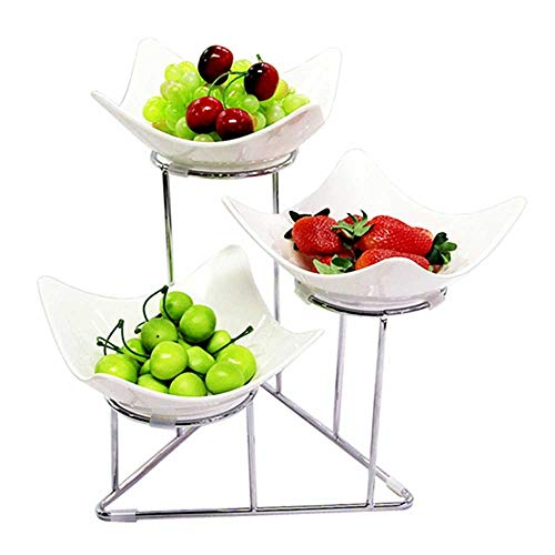 ZXvbyuff 3 Tier Obstkorb Ständer, Schalen mit Metall-Ständern, Nahrungs Server-Ausstellungsstand, Aufschlagen Harz Schalen-Set, Dessert Appetizer Snack Server, for Käse-Cracker