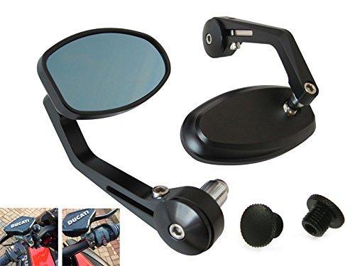 Terminale Manubrio Specchi Con Copertura Spine - Lavorate Al CNC Alluminio - Coppia - Nero, Blu, 10mm Plugs: 1 x clockwise 1 x anticlockwise
