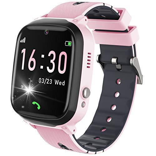 YENISEY Smartwatch Kinder, Zwei-Wege-Telefon mit Musik Player Kamera, Touchscreen Smart Watch Kids mit Spiel, SOS, Wecker, Rechner für Jungen Mädchen Geburtstag Geschenke - Rosa