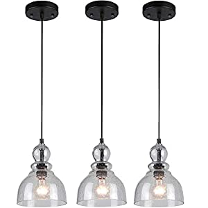 Westinghouse One-Light Indoor Mini Pendant with Clear Seeded Glass (Oil Rubbed Bronze, 3 Pack)