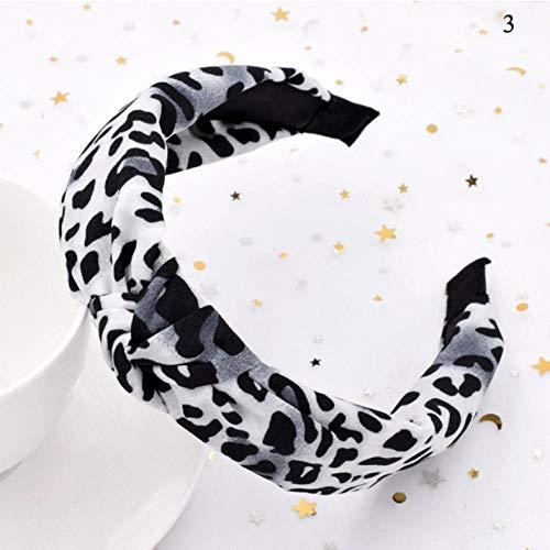 Bandes de Cheveux à imprimé léopard pour Femme Bandeau à Noeud torsadé Accessoires pour Cheveux pour Filles Head Hoop Headwear-White