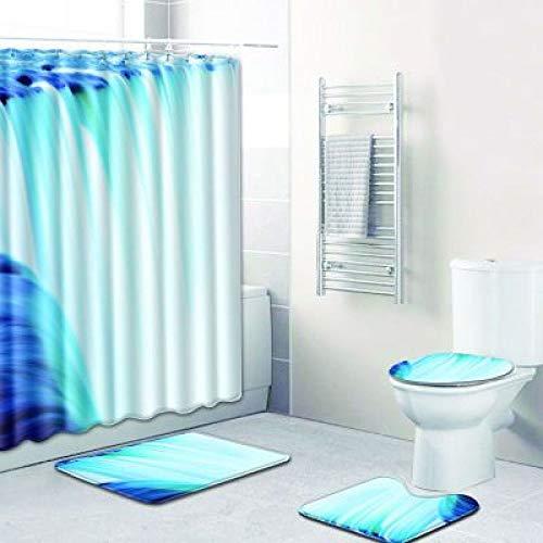 CCBAO Moderno Y Simple Poliéster Impermeable Cortina De Ducha Baño Antideslizante Tapete para Inodoro Tapete para Inodoro Combinación De Tapete para Pies Juego De 4 Piezas