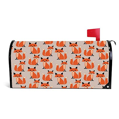 prz0vprz0v Mailbox Cover Influx of Foxes 21' x 18' Garden Post Cover Home Decor Water-Proof Canvas Standard Magnetic Mailbox Cover