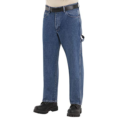 Bulwark Men's Flame Resistant 14.75 Ounce Pre-washed Denim Dungaree, Stone, 46W x 32L