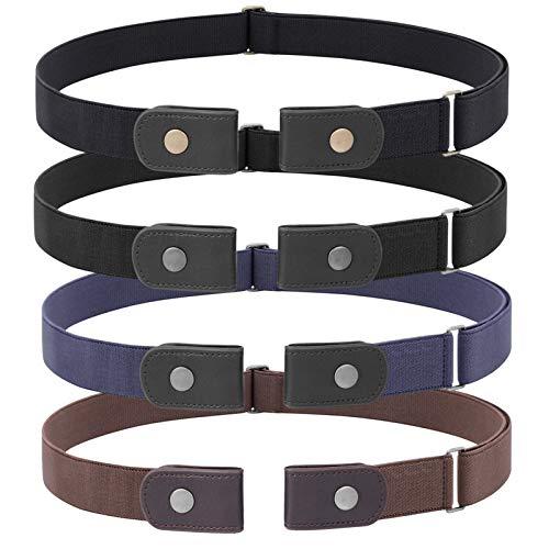 JasGood 4 Stück Schnallefrei Verstellbarer Gürtel für Damen oder Herren, Schnalle Unsichtbarer Elastischer Gürtel für Jeans Hosen, für Hosengrößen 80cm-120cm