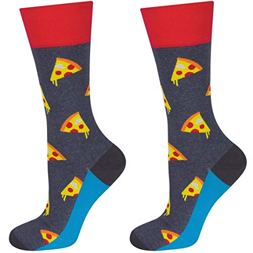 soxo Herren Bunte Pizza Socken   Größe 40 – 45   aus Baumwolle   Lustige Geschenk für Frauen und Männer