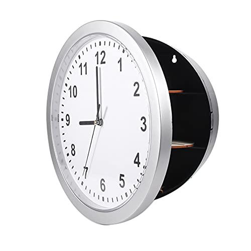 Väggklocka med dold säker, Durbale perfekt plats värdesaker ABS tre hyllor klocka säker, silver vardagsrum för hemmet