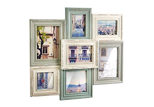 Kobolo Bilderrahmen-Collage - Holz - Vintage Pastell - 7 Bilder - 54x49 cm