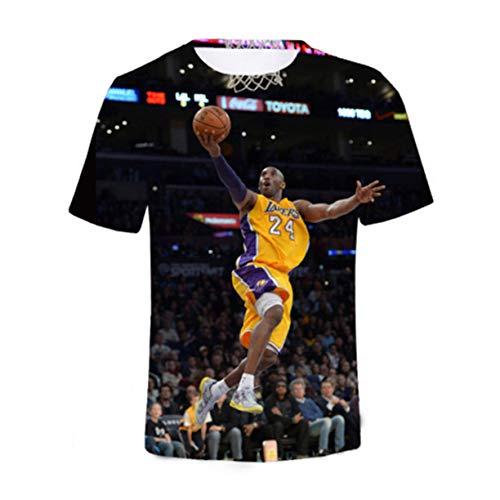 FMBK666 Camiseta para Hombre Conmemorar Kobe Bean Bryant Sports Jersey de Manga Corta Camiseta de algodón de Media Manga Camiseta Negra