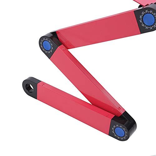minifinker Mesa de Cama, Escritorio de Cuaderno de aleación de Aluminio Antideslizante Ajustable cómodo para Dormitorio para Oficina(Rose Red)