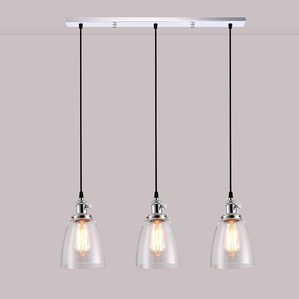 MENG 3-Light Cocina Isla de Cocina Pendiente Colgante Luminaria, Luz de Techo Industrial Lámpara de Cristal Transparente Rústico Sombra, E27 Vintage Lámparas Colgantes para Comedor Restaurant Loft Ca