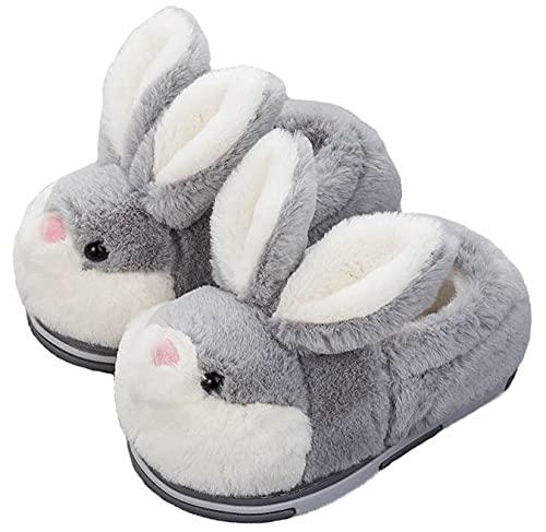 Hase Hausschuhe für Frauen, Plüsch-Frauen-Kaninchen-Hausschuhe Neuheit Gemütlich Fuzzy flauschige Häuser Tier Hausschuhe,XXL,shoes-gray