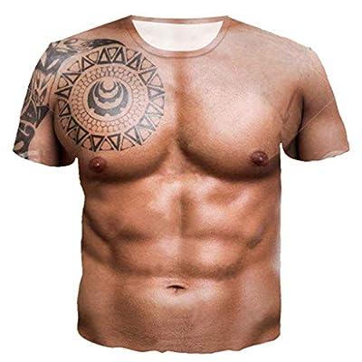 Men T-Shirts, Fashion Funny 3D Muscle Printed Short Sleeve Shirts O-Neck Tees Funny Body Print T-Shirt for Men (XL, Brown)