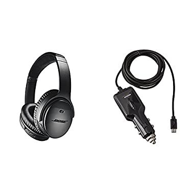 Bose QuietComfort 35 (Series II) Wireless Headphones, Noise Cancelling - Black with AmazonBasics Car Charger