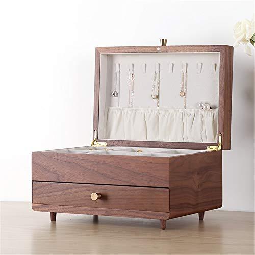 Yhjkvl - Joyero de nogal con cajón, caja de regalo de boda de madera maciza con múltiples capas, madera, marrón, 30 x 20 x 19cm