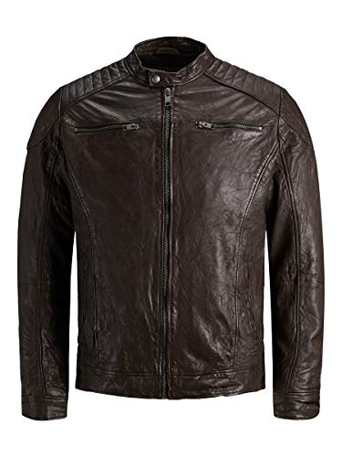 JACK & JONES Herren Jjeliam Leather Jacket Noos Jacke, Brown Stone, M EU