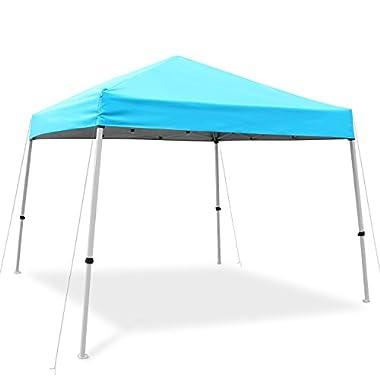 Ohuhu Pop-up Slant Leg Canopy Tent, Instant Shelter Wheeled Carry Bag, 10 10 Feet, Blue