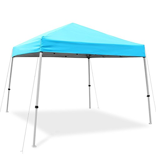 Ohuhu EZ Pop-up Slant Leg Canopy Tent, Instant Shelter with Wheeled Carry Bag, 10 x 10 FT at The Top & 8 X 8 FT at The Base, Blue