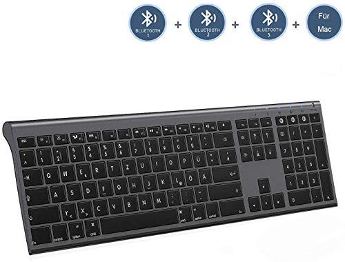 Jelly Comb Bluetooth Funktastatur, Kabellose Wiederaufladbare Fullsize Tastatur mit 3 Bluetooth Kanal für MacBook, iMac, iPad, Mac OS, QWERTZ Deutsches Layout, Grau