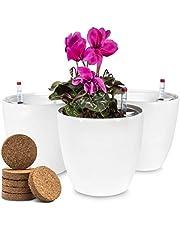 Set van 3 Zenakio Bloempotten Voor Zelfbesproeiing - Met Waterindicatormeters en 6 Kokosnootpellets - D18 x H17,5 cm - Perfect voor alle planten