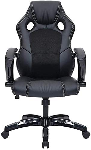 THBEIBEI Office Chair Leather Desk Gaming Chair Adjustable Height High Backrest Ergonomic Racing Chair for Meeting Room Student Dormitory Athletic Chair (Color : All Black)