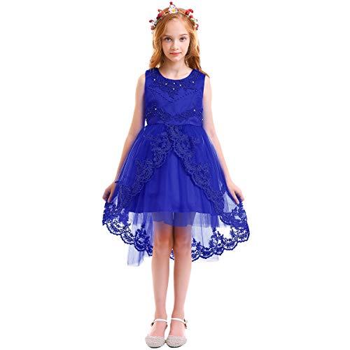 OBEEII Vestido Asimétrico Elegante de Niña Vestidos Multicapa Ropa Verano Disfraz de Princesa para Boda Madrina Fiesta Ceremonia Comunión Cumpleaños Carnaval Baile Noche Prom 14-15 años Azul