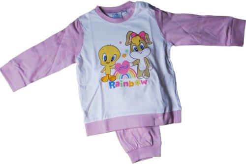 Warner Brothers Baby Looney Tunes Zweiteiler / Pyjama / Schlafanzug / Shirt und Hose - Tweety und Lola Bunny - Little Rainbow - Lila/Weiß/Mehrfarbig