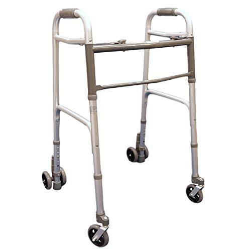 Deambulatore pieghevole, regolabile in altezza con 2 ruote piroettanti e 2 gemellate con sistema di frenata a pressione