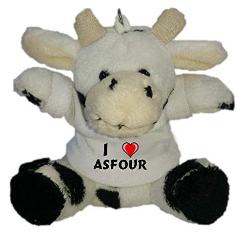 Preisvergleich Produktbild SHOPZEUS Plüsch Kuh Schlüsselhalter mit T-Shirt mit Aufschrift Ich Liebe Asfour (Vorname / Zuname / Spitzname)