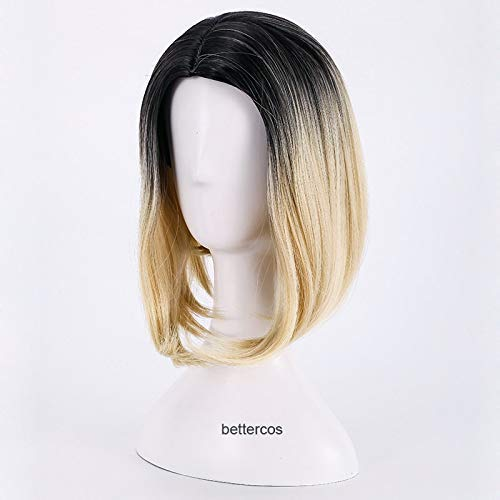 La novia de Chucky rol Jennifer Tilly Peluca de moda Rubio Negro Medio despedida de calor sintético resistente casquillo de la peluca peluca de pelo Moda + Moda WTZ012