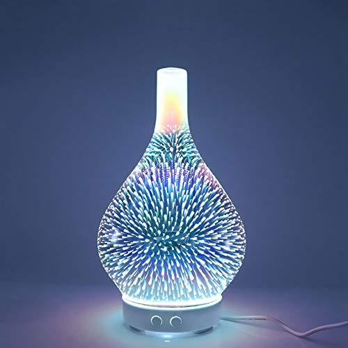 COOLM 100ml Ätherisches Öl Diffusor, 3D Feuerwerk Glas Aromatherapie Diffusor, Cool Mist Ultraschall Luftbefeuchter mit Starburst Wechseln LED Lichter, Wasserlos Auto-Aus, Holzbasis