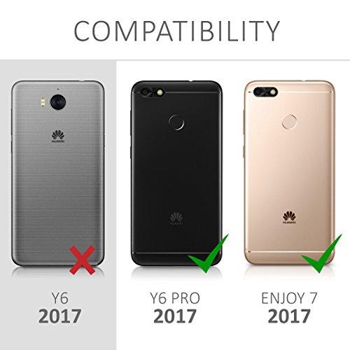 kwmobile Huawei Y6 Pro (2017) / Enjoy 7 Hülle - Kunstleder Wallet Case für Huawei Y6 Pro (2017) / Enjoy 7 mit Kartenfächern und Stand - Schwarz - 6