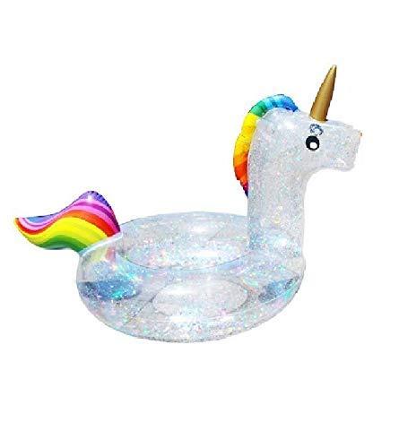 Vercico Aufblasbarer Einhorn Glitzer Transparente Schwimmreifen Aufblasbarer Glitzer Ring Aufblasbares Einhorn Schwimmtier Pool Spielzeug Pool Floß Wasserspielzeug für Erwachsene Kinder