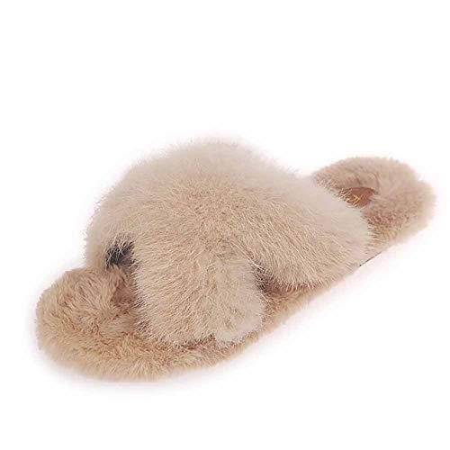 BAOFU Warme Pantoffeln Für Herbst Und Winter, Atmungsaktive Leichte rutschfeste Verschleißfeste Leben Zu Hause Damenpantoffeln, Plüschpantoffeln Für Kaninchen (Size : XL)
