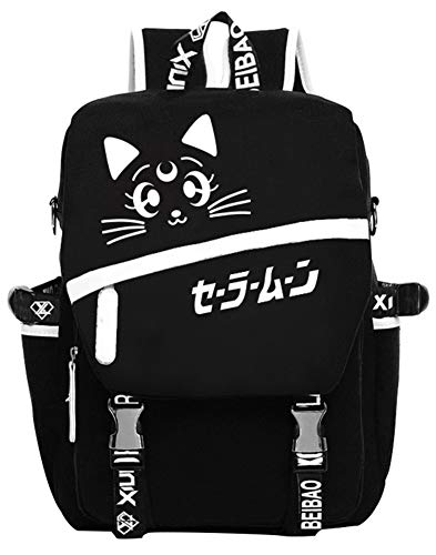 Gumstyle Anime Cosplay Luminous Laptop Rucksack Schultasche Buch Tasche Unisex Student Schwarz, Seemann Mond (Schwarz) - 1A850-8