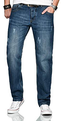 A. Salvarini Designer Herren Jeans Hose Basic Jeanshose gerades Bein Comfort Fit [AS-212-Blau-W29-L30]