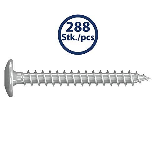 Maxerio, verzinkt Basic 288er Set Pfostenschrauben Tellerkopf TX30 6,0x50mm Stahl